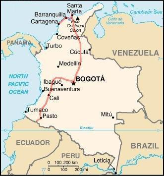 Notre trajet en Colombie