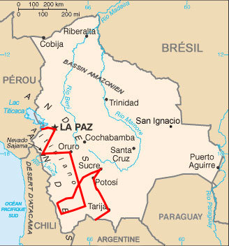 Notre trajet en Bolivie